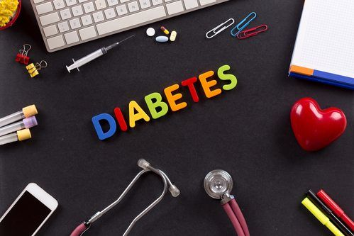 diabetes spell out, surrounded by health items (pills, stethoscope, needle)